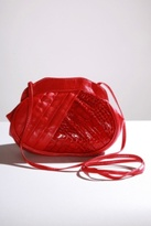 Red Faux Leather Patent Crocodile Cross-Body Handbag