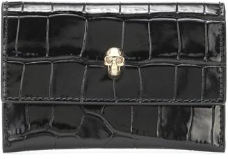 Alexander McQueen Skull croc-effect leather card holder