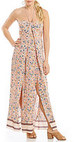 Chelsea & Violet Mixed-Print Cutout Halter Maxi Dress