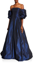 Jovani Off-Shoulder Balloon Sleeve Taffeta Ball Gown