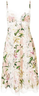 Dolce & Gabbana Lily Print Shift Midi Dress