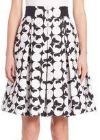 Akris Punto Pleated Cotton Jacquard Skirt