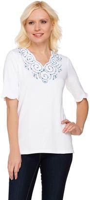 Factory Quacker Rhinestone Swirl Scalloped Elbow Sleeve T-shirt