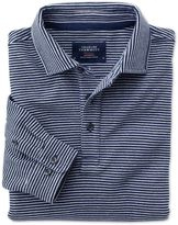 Charles Tyrwhitt Classic Fit Blue and White Striped Long Sleeve Knitted Cotton Polo Size Large