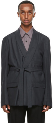 Lemaire Grey Wool Double-Breasted Belted Blazer