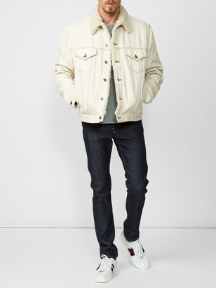 Shearling Lined Denim Jacket With Sketch Snake Print White