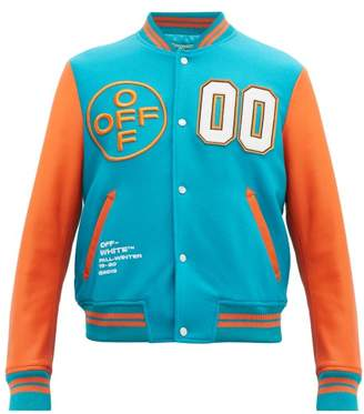 Off-White Off White Wool Blend And Leather Varsity Jacket - Mens - Blue Multi