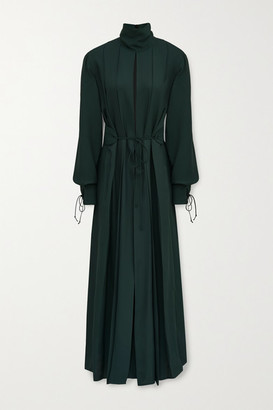 Victoria Beckham Belted Pleated Twill Midi Dress - Emerald