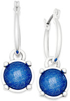 Nine West Silver-Tone Blue Stone Hoop Earrings