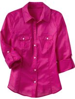 Women's Voile Roll-Up Shirts