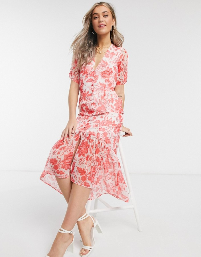 Thumbnail for your product : Hope & Ivy button front midaxi dress with ruffle hem in red floral