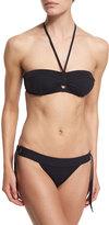 Proenza Schouler Tie-Front Solid Two-Piece Swimsuit, Black