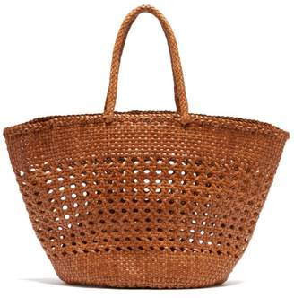 Dragon Optical Diffusion - Cannage Market Large Woven-leather Basket Bag - Womens - Tan