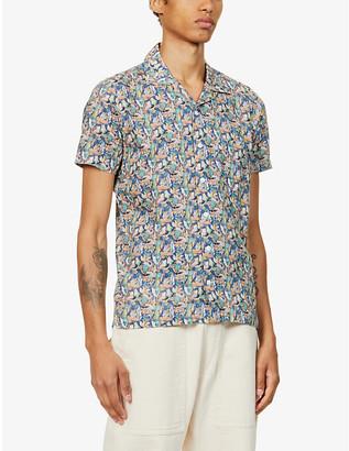 Far Afield Bird print organic cotton short sleeve shirt