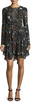 A.L.C. Cynthia Long-Sleeve Floral Silk A-Line Dress, Black/Multicolor