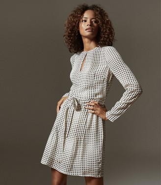 Reiss ELISSA SPOT PRINTED MINI DRESS Black/white
