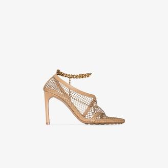 Bottega Veneta Beige 90 Ankle Chain Leather Sandals