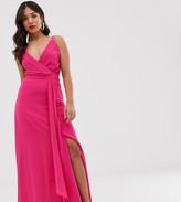 TFNC Petite cami wrap maxi dress with fishtail in fuchsia