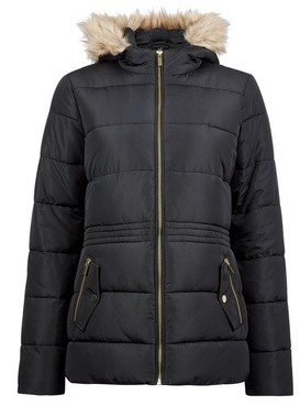 Dorothy Perkins Womens Black Short Padded Coat, Black