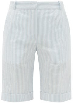 Pallas Paris - Gianni Striped Cotton-seersucker Shorts - Blue White