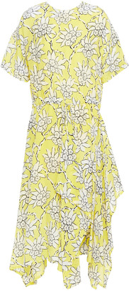 Valentino Asymmetric Floral-print Silk-blend Crepe Dress