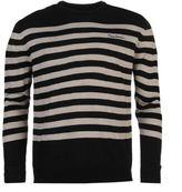 Pierre Cardin Mens Stripe Knit Jumper Smart Pullover Long Sleeve Crew Neck Top