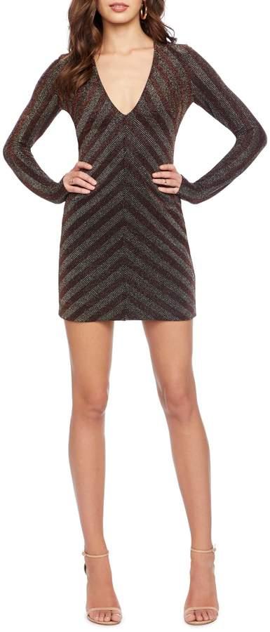 Dress the Population Maya Metallic Stripe Long Sleeve Body-Con Minidress