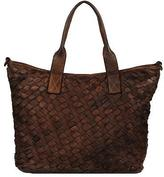 Wilsons Leather Womens Vintage Multi-Woven Leather Tote Brown