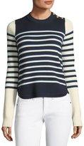 Veronica Beard Amos Striped Merino Button Sweater