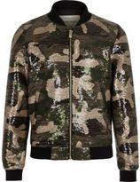 River Island Girls khaki sequin camo bomber jacket
