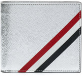 Thom Browne Billfold With Red, White And Blue Diagonal Stripe In Silver Leather