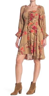 Angie Long Sleeve Printed Tie Front Dress