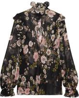 Giambattista Valli Ruffled Floral-print Silk-georgette Blouse - Black