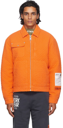 Heron Preston Orange Quilted Jacket