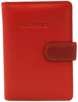 Visconti Red Side-Tab Leather Passport Wallet
