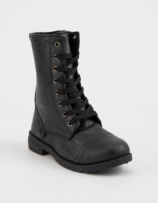 Blue Suede Shoes Faux Leather Girls Combat Boots
