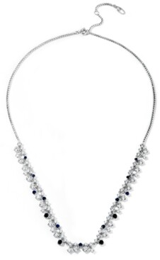 """Eliot Danori Silver-Plated Cubic Zirconia & Synthetic Gemstone Statement Necklace, 16"""" + 2"""" extender, Created for Macy's"""