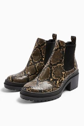 Topshop Womens Brixton Snake Chelsea Boots - Natural