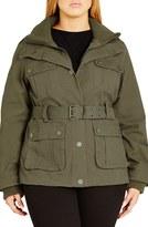 City Chic Plus Size Women's Rib Knit Trim Belted Utility Jacket