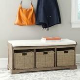 Beachcrest Home Santa Cruz Upholstered Cubby Storage Bench Color: Grey/White