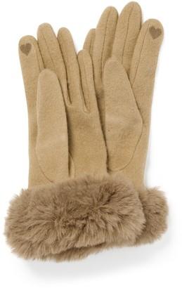 Forever New Lara Faux-Fur Trim Gloves - Camel - 00