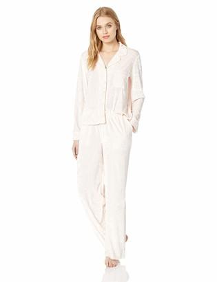 Splendid Women's Button Up Long Sleeve Top and Bottom Velvet Pajama Set Pj
