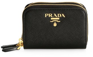 Prada Double Zip-Around Leather Coin Case