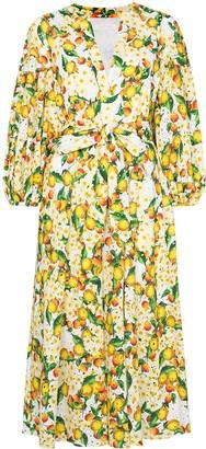 Borgo de Nor Mia lemon-print broderie anglaise dress