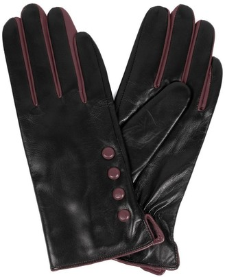 Karla Hanson Women's Leather Touch Screen Gloves with Buttons