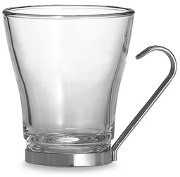 Bormioli Verdi Cappuccino Cup with Stainless Steel Handle - Set of 4