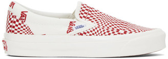 Vans Red and Off-White Check OG Classic Slip-On LX Sneakers
