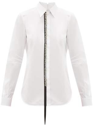No.21 No. 21 - Crystal Ribbon Cotton Poplin Shirt - Womens - White