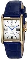 Peugeot Women's 'Tank Roman Numeral' Quartz Metal and Leather Dress Watch, Color:Blue (Model: 3036GBL)