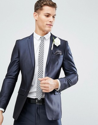 French Connection Skinny Wedding Suit Jacket in Tonic-Navy